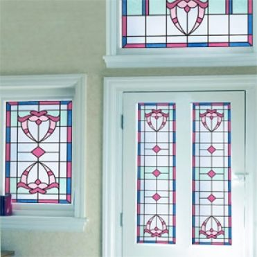 Purlfrost victorian stained glass for Victorian stained glass window film