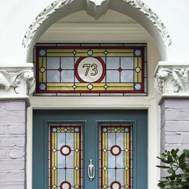 Victorian Stained Glass Effect House Number Sticker By