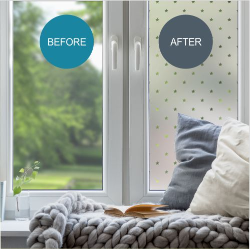 Window showing before and after application of patterned film
