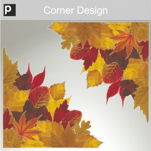 Photorealistic Autumn Leaves Shop Window Stickers Pack 3