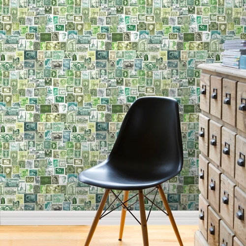 Green Stamps Wallpaper