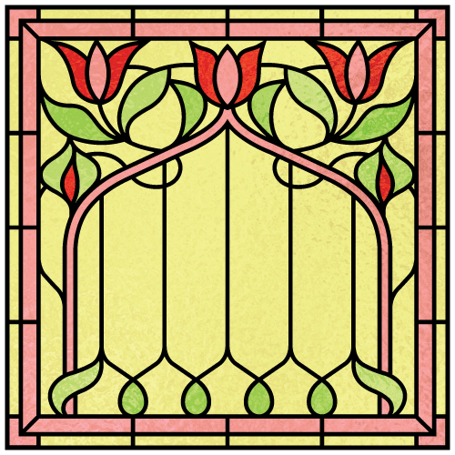 Millicent a for Victorian stained glass window film