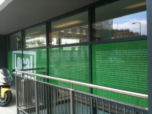 Local window film installation example