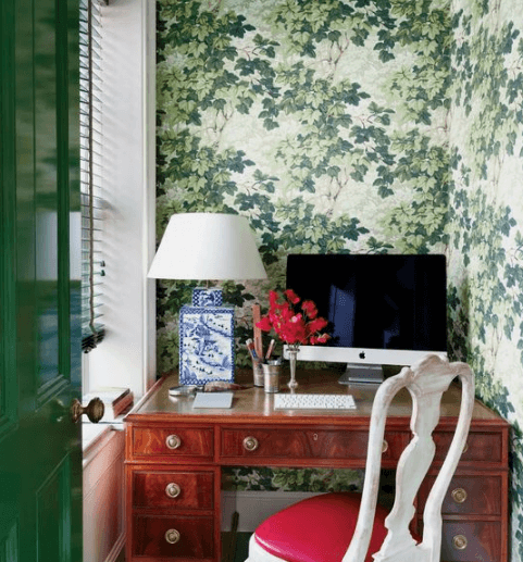 Stunning plant wallpaper for home office space