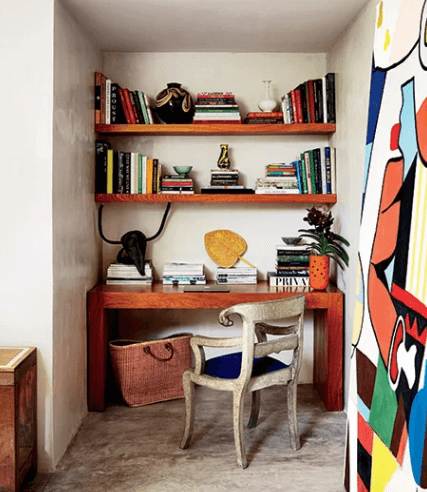 Creative home working space in small corner