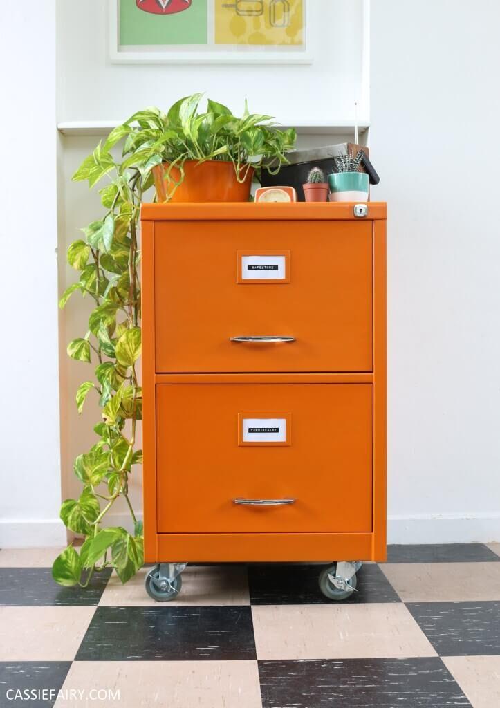 Bright orange modern storage for home office