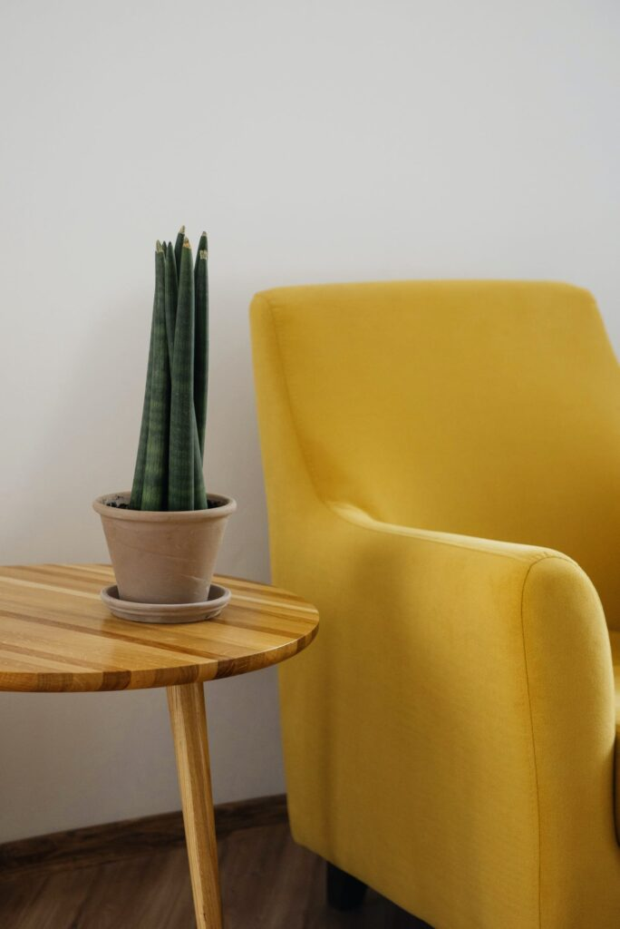 yellow chair pop of colour