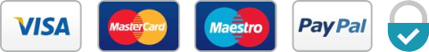 Supported cards: MasterCard, Maestro, Visa, PayPal