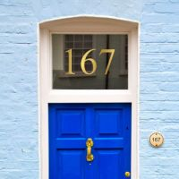 Gold metallic house number sticker for glass and transom