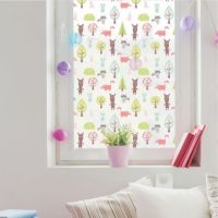 Cute pattern printed on window film designed for a child's bedroom.