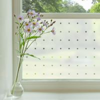 Patterned window film consisting of small circles on a frosted background applied to a window.