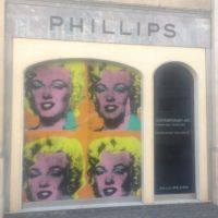 Marilyn Monroe by Andy Warhol printed on vinyl and applied to Phillips Auctioneers windows.