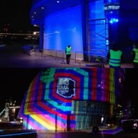 Static cling white vinyl film applied to London Assembly building windows as backdrop for MTV awards projection.