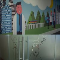Self-adhesive glass and wall graphics for Waterstons office.