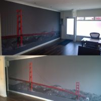 Self-adhesive wall mural of Golden Gate Bridge for London business.