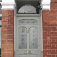 Victorian etch glass effect window film applied to period front door in London.