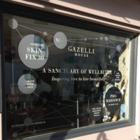 Vinyl cut graphics applied to shop window of Gazelli London store.