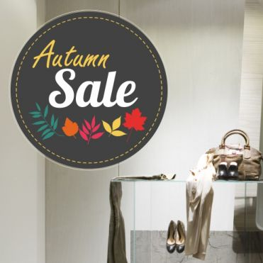 Colourful Leaves Circle Sale Sticker