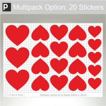 Plain Heart Stickers Multipack