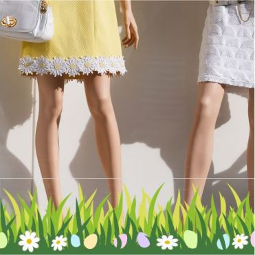 Grass Border With Eggs & Daisies