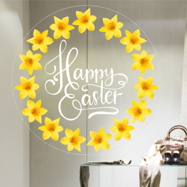 Happy Easter With Daffodils Frame