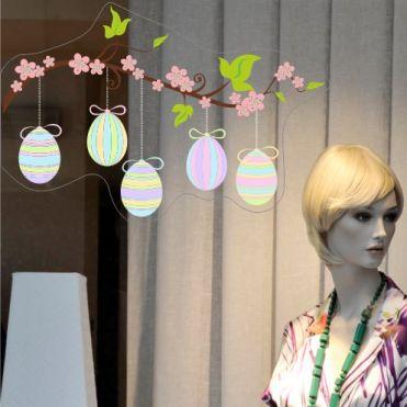 Stripy Eggs With Blossom Left Corner