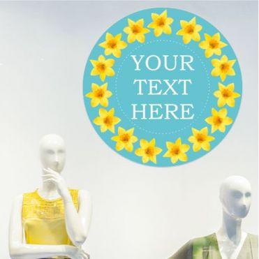 Custom Text Circular Daffodils Frame