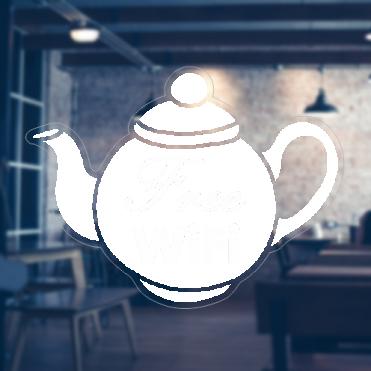 Tea Pot Free Wifi Sticker