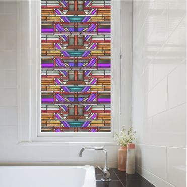 Garnet Seamless Art Deco Stained Glass Film