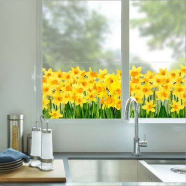 Daffodils Decorative Border Window Sticker
