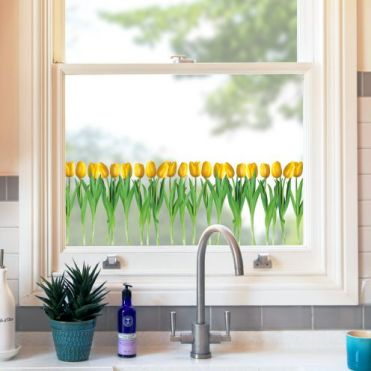 Yellow Tulips Decorative Border Sticker