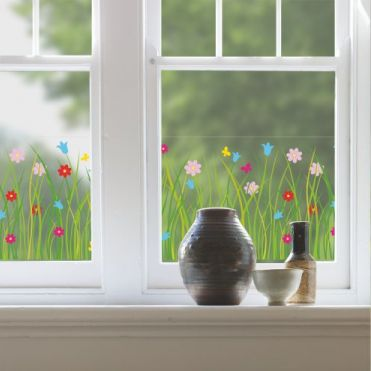 Grass Border In Bloom  Window Sticker