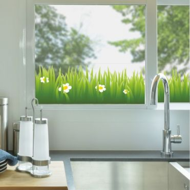 Grass Border With Daisies Window Sticker