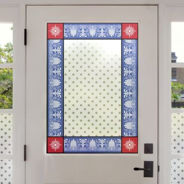 Victorian Stained Glass Border With Patterned Glass Panel