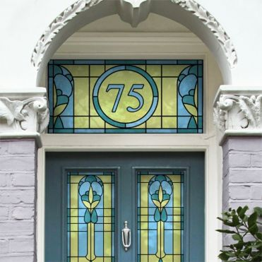 Art Deco Stained Glass House Numbers