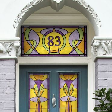 Art Nouveau Stained Glass House Numbers