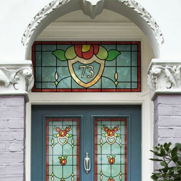 Art Deco Stained Glass House Number