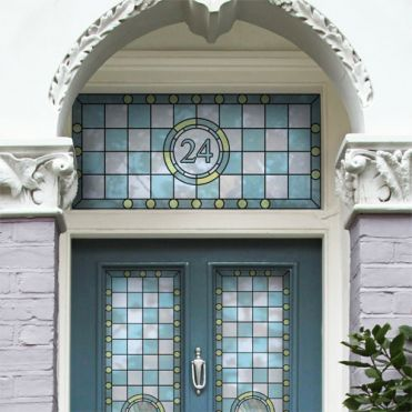 Victorian Stained Glass House Number