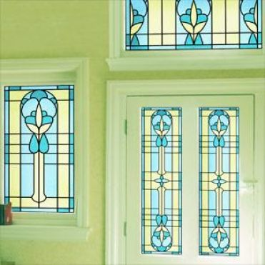Emerald Art Deco Stained Glass
