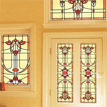 Amber Art Deco Stained Glass
