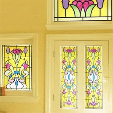 Citrine Art Deco Stained Glass