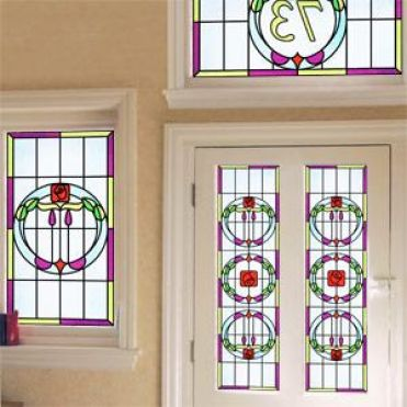 Amethyst Art Deco Stained Glass