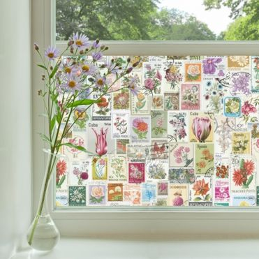 Flower Stamps Window Film