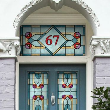 Victorian stained glass effect house number sticker for Victorian stained glass window film